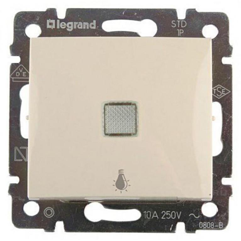 Выключатель кнопочный одноклавишный Legrand Valena 10A 250V Лампа слоновая кость 774313