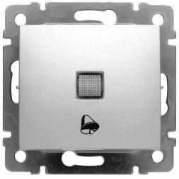 Выключатель кнопочный одноклавишный Legrand Valena 10A 250V с подсветкой Звонок алюминий 770115