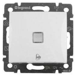 Выключатель кнопочный одноклавишный Legrand Valena 10A 250V с подсветкой Звонок белый 774215