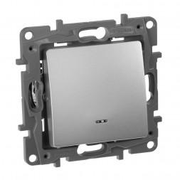 Выключатель одноклавишный Legrand Etika 10A 250V с подсветкой алюминий 672403