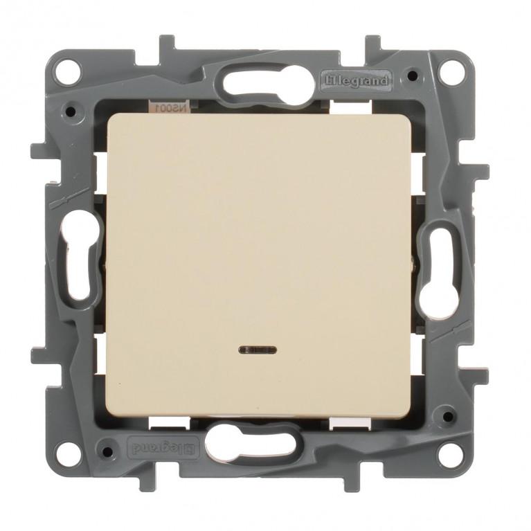 Выключатель одноклавишный Legrand Etika 10A 250V с подсветкой слоновая кость 672303