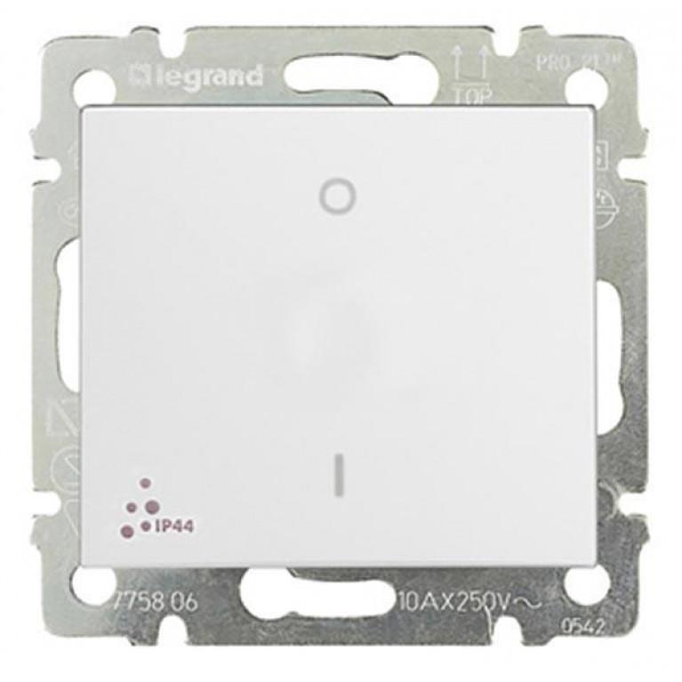 Выключатель одноклавишный двухполюсный Legrand Valena 10A 250V IP44 белый 770092