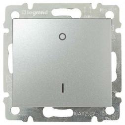 Выключатель одноклавишный двухполюсный Legrand Valena 16A 250V алюминий 770204