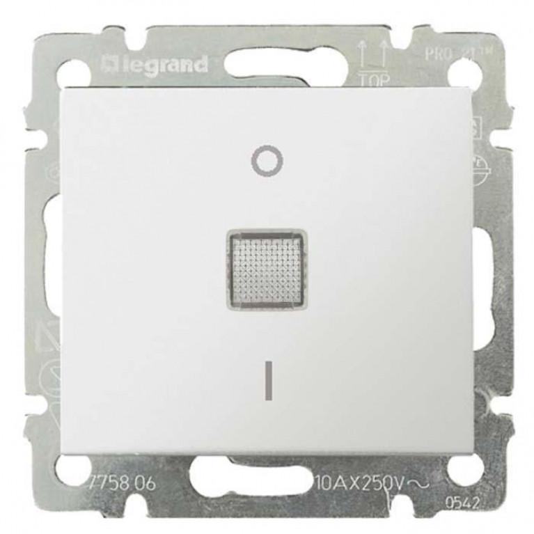 Выключатель одноклавишный двухполюсный Legrand Valena 16A 250V с подсветкой белый 774214