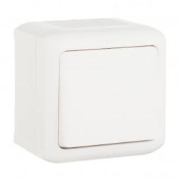 Выключатель одноклавишный кнопочный Legrand Quteo 6A 250V IP44 белый 782305