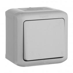 Выключатель одноклавишный кнопочный Legrand Quteo 6A 250V IP44 серый 782335