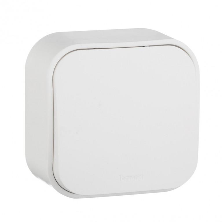 Выключатель одноклавишный кнопочный Legrand Quteo 6A 250V белый 782205