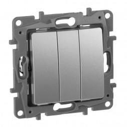 Выключатель трехклавишный Legrand Etika 10A 250V алюминий 672413