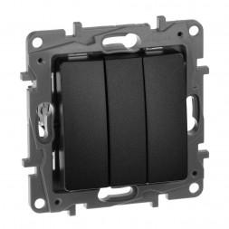 Выключатель трехклавишный Legrand Etika 10A 250V антрацит 672613