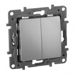 Переключатель двухклавишный Legrand Etika 10A 250V алюминий 672412