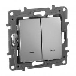 Переключатель двухклавишный Legrand Etika с подсветкой 10A 250V алюминий 672416