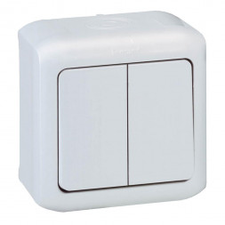 Переключатель двухклавишный на 2 направления Legrand Quteo 10A 250V IP44 белый 782301