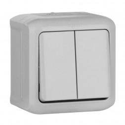 Переключатель одноклавишный на 2 направления Legrand Quteo 10A 250V IP44 серый 782331