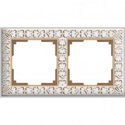 Рамка Antik на 2 поста белое золото WL07-Frame-01 4690389099182