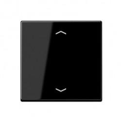 Накладка нажимного электронного жалюзийного выключателя с ДУ (радио) Jung A 500 черная A5232FSW