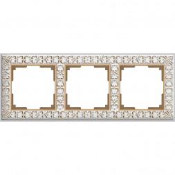 Рамка Antik на 3 поста белое золото WL07-Frame-01 4690389099199
