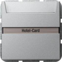 Выключатель карточный Gira System 55 с подсветкой 10A 250V алюминий 014026