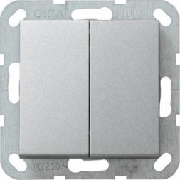 Выключатель кнопочный двухклавишный Gira System 55 10A 250V алюминий 012526