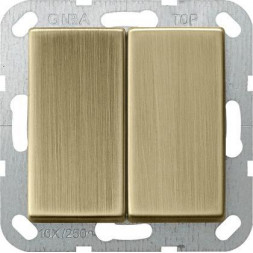 Выключатель кнопочный двухклавишный Gira System 55 10A 250V бронза 0125603