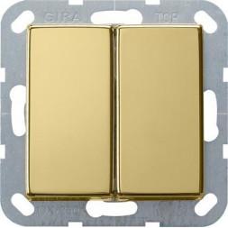 Выключатель кнопочный двухклавишный Gira System 55 10A 250V латунь 0125604