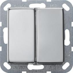 Выключатель кнопочный двухклавишный Gira System 55 10A 250V хром 0125605