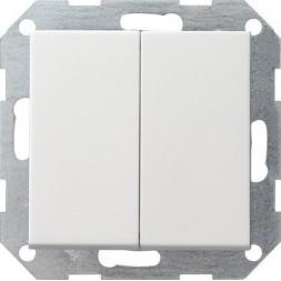 Выключатель кнопочный двухклавишный Gira System 55 10A 250V чисто-белый глянцевый 012503