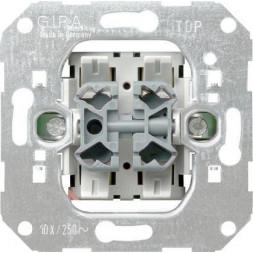 Выключатель кнопочный двухклавишный перекрестный Gira System 55 10A 250V 015500