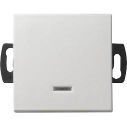 Выключатель кнопочный одноклавишный Gira System 55 с подсветкой 0,5A 42V чисто-белый шелковисто-мато