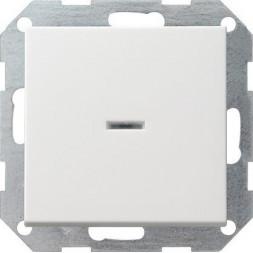 Выключатель кнопочный одноклавишный Gira System 55 с подсветкой 10A 250V чисто-белый глянцевый 01220