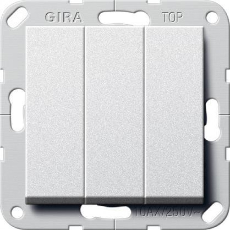 Выключатель трехклавишный Gira System 55 10A 250V алюминий 284426