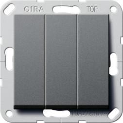 Выключатель трехклавишный Gira System 55 10A 250V антрацит 284428