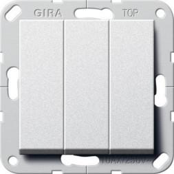 Выключатель трехклавишный Gira System 55 10A 250V британский стандарт алюминий 283026