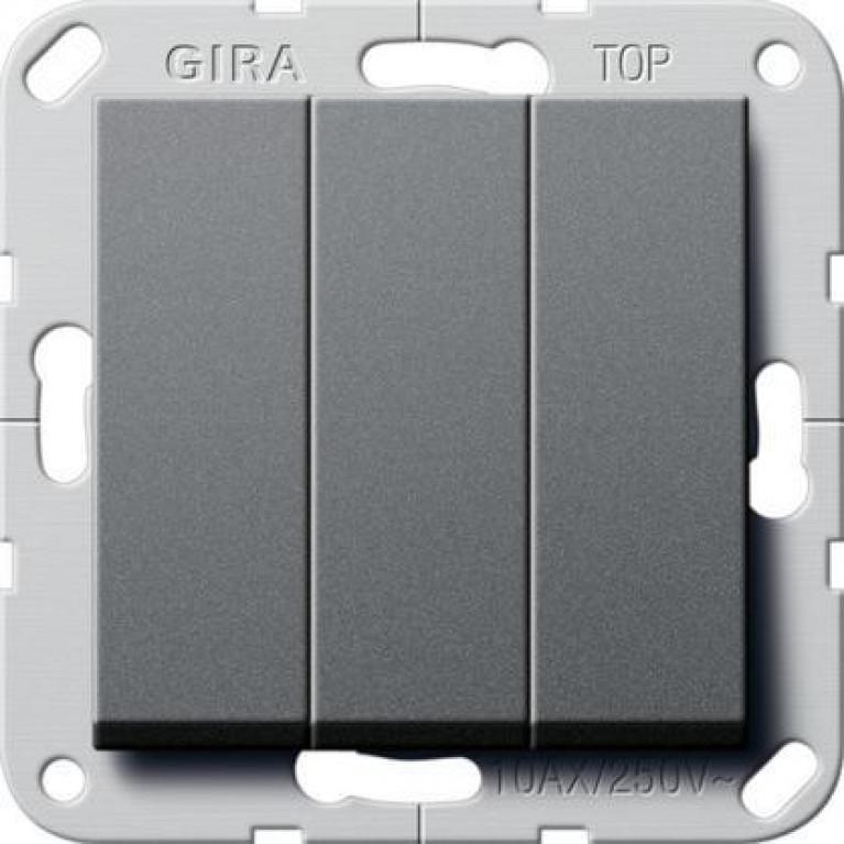 Выключатель трехклавишный Gira System 55 10A 250V британский стандарт антрацит 283028