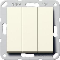 Выключатель трехклавишный Gira System 55 10A 250V британский стандарт кремовый глянцевый 283001