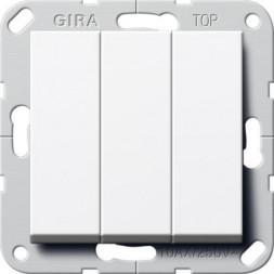 Выключатель трехклавишный Gira System 55 10A 250V британский стандарт чисто-белый глянцевый 283003