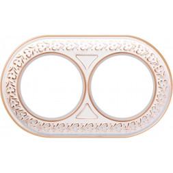 Рамка Antik Runda на 2 поста белое золото WL70-frame-02 4690389106507