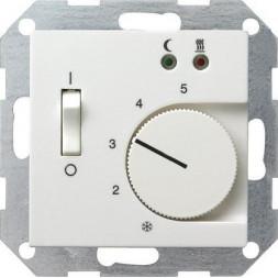 Термостат Gira System 55 теплого пола чисто-белый шелковисто-матовый 039427