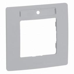 Рамка 1-постовая Legrand Etika с держателем для маркировки алюминий 672556