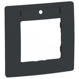 Рамка 1-постовая Legrand Etika с держателем для маркировки антрацит 672586