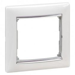 Рамка 1-постовая Legrand Valena белая/серебряный штрих 770491
