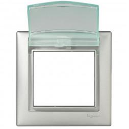 Рамка 1-постовая Legrand Valena с крышкой алюминий 770150