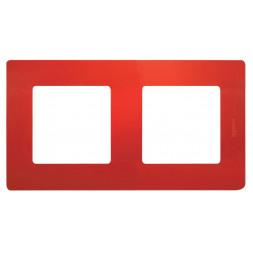 Рамка 2-постовая Legrand Etika красная 672532