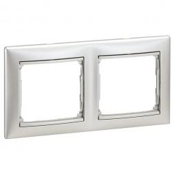 Рамка 2-постовая Legrand Valena алюминий 770152