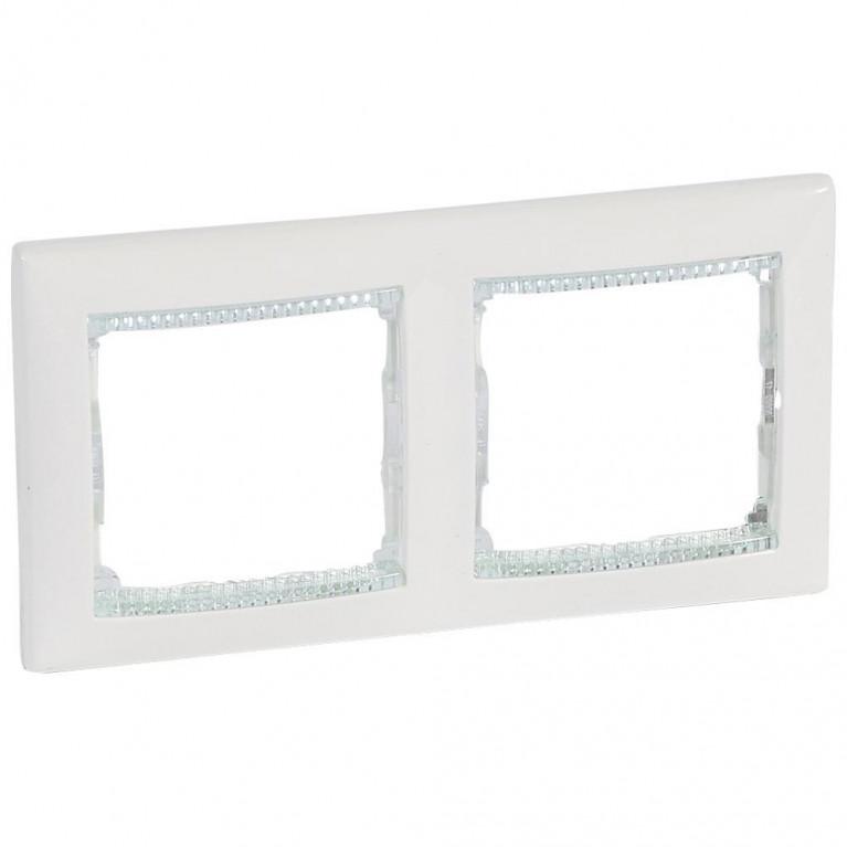 Рамка 2-постовая Legrand Valena белая/кристалл 774462