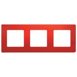 Рамка 3-постовая Legrand Etika красная 672533