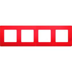 Рамка 4-постовая Legrand Etika красная 672534