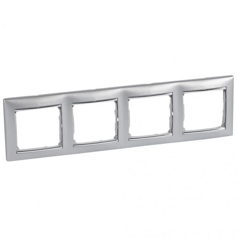 Рамка 4-постовая Legrand Valena алюминий/серебряный штрих 770354