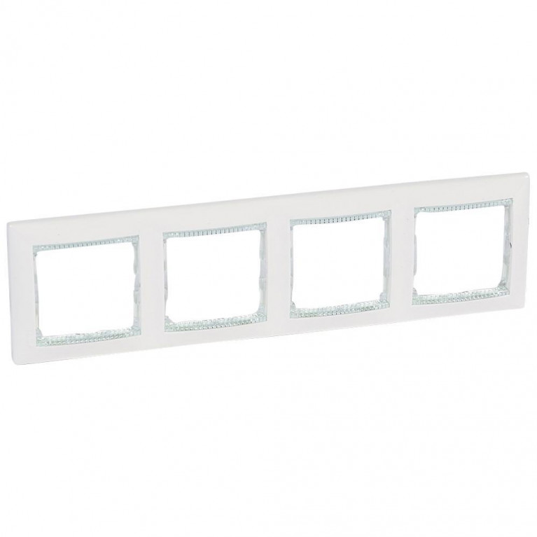 Рамка 4-постовая Legrand Valena белая/кристалл 774464