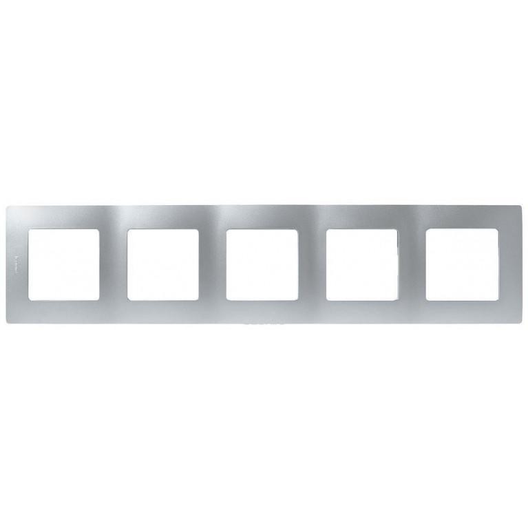 Рамка 5-постовая Legrand Etika алюминий 672555