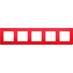 Рамка 5-постовая Legrand Etika красная 672535